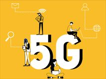 Creative Word concept 5G and People doing technical activities. Illustration of Creative Word concept 5G technology and People gather around with doing technical vector illustration