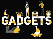 Creative Word concept Gadgets and People doing activities royalty free illustration