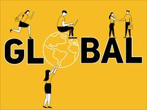 Creative Word concept Global and People doing things vector illustration