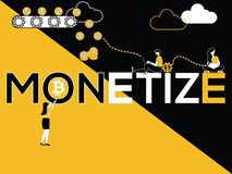 Creative Word concept Monetize and People doing multiple activities vector illustration