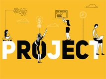 Creative Word concept Project and People doing things vector illustration