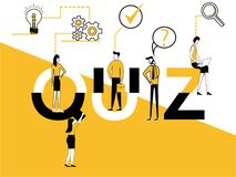 Creative Word concept Quiz and People doing multiple activities stock illustration