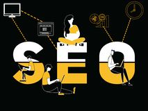 Creative Word concept SEO and People doing things royalty free illustration