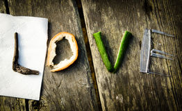 Creative Word Love. Love made from the picnic items Royalty Free Stock Photo