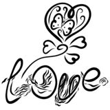 Creative word Love and balloon in the shape of heart with a. Butterfly vector illustration