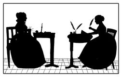 Creative work against housework, black silhouettes, vintage. Creative work against housework, silhouette sketch black and white representing two kind of women: a vector illustration