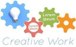 Creative work light bulb gears Stock Images