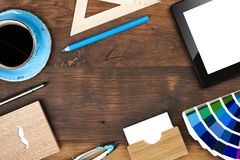 Creative worker office workspace top view, copy space in center.  stock image