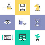 Creative workflow pictogram icons set. Creative studio workflow, effective business solution, market tactics and strategy decision, create success project Stock Images