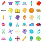 Creative working icons set, cartoon style Stock Image