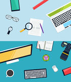 Creative workplace  design. Concept of office equipment, icons set and objects Royalty Free Stock Photo