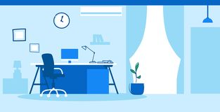 Creative workplace empty no people cabinet modern office interior sketch doodle horizontal. Vector illustration stock illustration