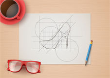 Creative workplace of fashion designers. Top view. Background Vector Illustration