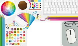 Creative workplace. Top view artist desktop. illustration II. royalty free illustration