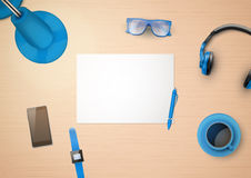 Creative workplace with white paper and stylized Stock Image