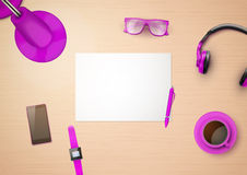 Creative workplace with white paper and stylized Royalty Free Stock Photography