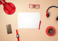 Creative workplace with white paper and stylized Royalty Free Stock Photo