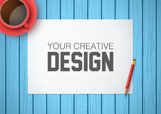 Creative workplace with white paper. Top view Royalty Free Stock Photos