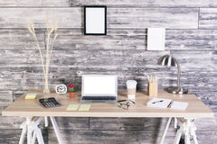 Creative workplace white screen Royalty Free Stock Images
