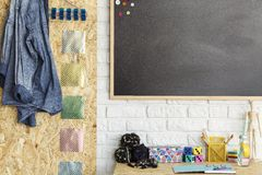 Creative workspace with blackboard stock photography