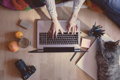 Creative workspace royalty free stock photography