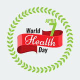 Creative World Health Day Greeting stock vector. Red ribbon Royalty Free Stock Images