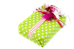 Creative wrapped green present Stock Photos