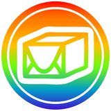 A creative wrapped parcel circular in rainbow spectrum. An original creative wrapped parcel circular in rainbow spectrum royalty free illustration