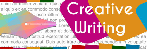 Creative Writing Colorful Banner. Creative writing concept image with colorful pen tip and text Stock Photography