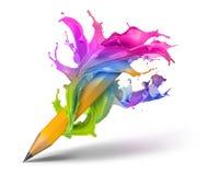 Creative writing concept. Colorful paint splash twirl around pencil, background royalty free illustration