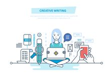 Creative writing. Copywriter and copywriting. Writing of articles and information. Creative writing concept. Copywriter and copywriting. Creative writing of vector illustration
