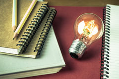 Creative writing. Glowing light bulb with many notebooks for creative writing concept Stock Photo