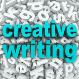 Creative Writing Letter Background Creativity Imagination. The words Creative Writing on a 3d background of random letters to illustrate focusing your creativity Royalty Free Stock Photography