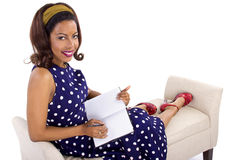 Creative Writing By Retro Female Royalty Free Stock Photography