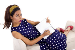Creative Writing By Retro Female Royalty Free Stock Images