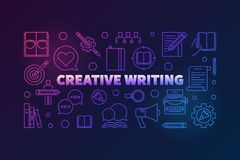 Creative writing vector outline colored horizontal banner. Creative writing vector outline colored horizontal illustration on dark background stock illustration