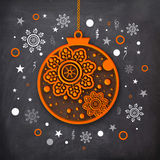 Creative Xmas Ball for New Year and Christmas. Creative hanging Xmas Ball on snowflakes decorated chalkboard background for Merry Christmas and Happy New Year vector illustration