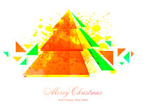 Creative Xmas Tree for Christmas and New Year. Creative abstract Xmas Tree on yellow color splash background for Merry Christmas and Happy New Year celebration royalty free illustration