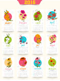 Creative Yearly 2016 Calendar for New Year celebration. Yearly 2016 Calendar design with colorful flowers for Happy New Year celebration Stock Images