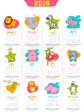 Creative Yearly 2016 Calendar for New Year celebration. Stylish 2016 Yearly Calendar design with wild animals for Happy New Year celebration Stock Photography