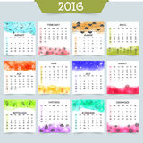 Creative Yearly Calendar for New Year 2016. Creative 2016 Yearly Calendar design with colorful patterns for Happy New Year celebration royalty free illustration