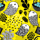 Creative yellow background with doodle birds, crystals and design elements. Royalty Free Stock Image
