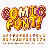 Creative yellow - purple comic font. Alphabet Royalty Free Stock Photo