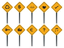 Creative Yellow Road Signs with Different Symbols Stock Photo