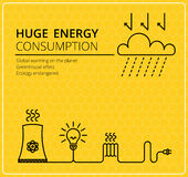 Creative yellow vector background electricity. Business, slim design idea Royalty Free Stock Photography