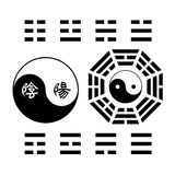 Creative Yin Yang symbol trigram sign. Traditional Pakua (Bagua) with innovative Tai Chi vector symbol which has Chinese characters Yin and Yang replace the dots Royalty Free Stock Photo