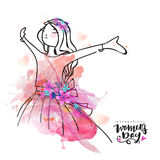Creative young girl for Women's Day celebration. Stock Images