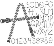 Creative zip font. Alphabet letters  numbers. Concept fashion sewing clothes. Stock Images