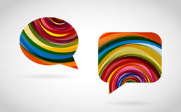 CreativeCommunication. Two colorful talk bubbles on grey background Vector Illustration