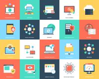 Internet Technology And Security Flat Icons Set. This is creatively designed flat icon set of internet security and technology. World is becoming a global Royalty Free Stock Photography